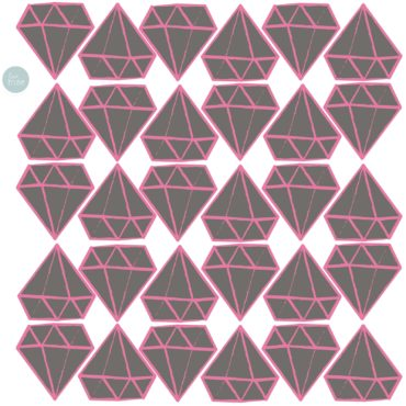 Sticker mural Diamants Gris & Rose