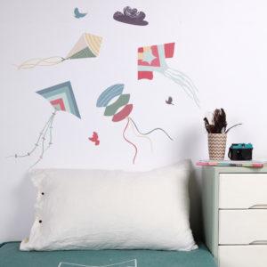 Sticker mural Cerfs-volants Bleu Love Mae