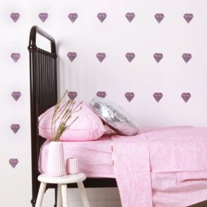 sticker-mural-chambre-fille-diamants-rose-gris-lovemae