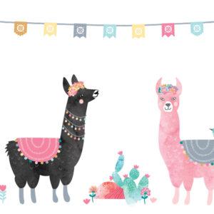 Sticker chambre enfant lamas Love Mae
