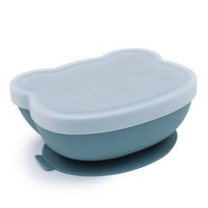 bol bleu pour enfant en silicone avec ventouse et couvercle we might be tiny