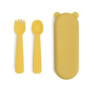 Couverts jaune en silicone pour enfant We Might Be Tiny